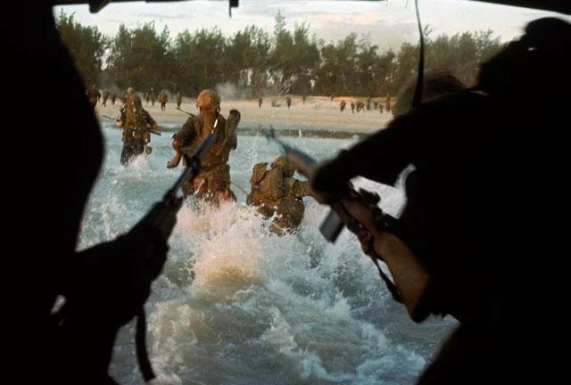 Marines landing on the beaches of Cape Batangan