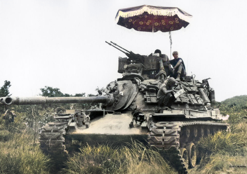 Tactical parasol with M48 in Vietnam 1