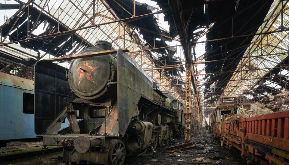 Abandoned train yard in Hungary