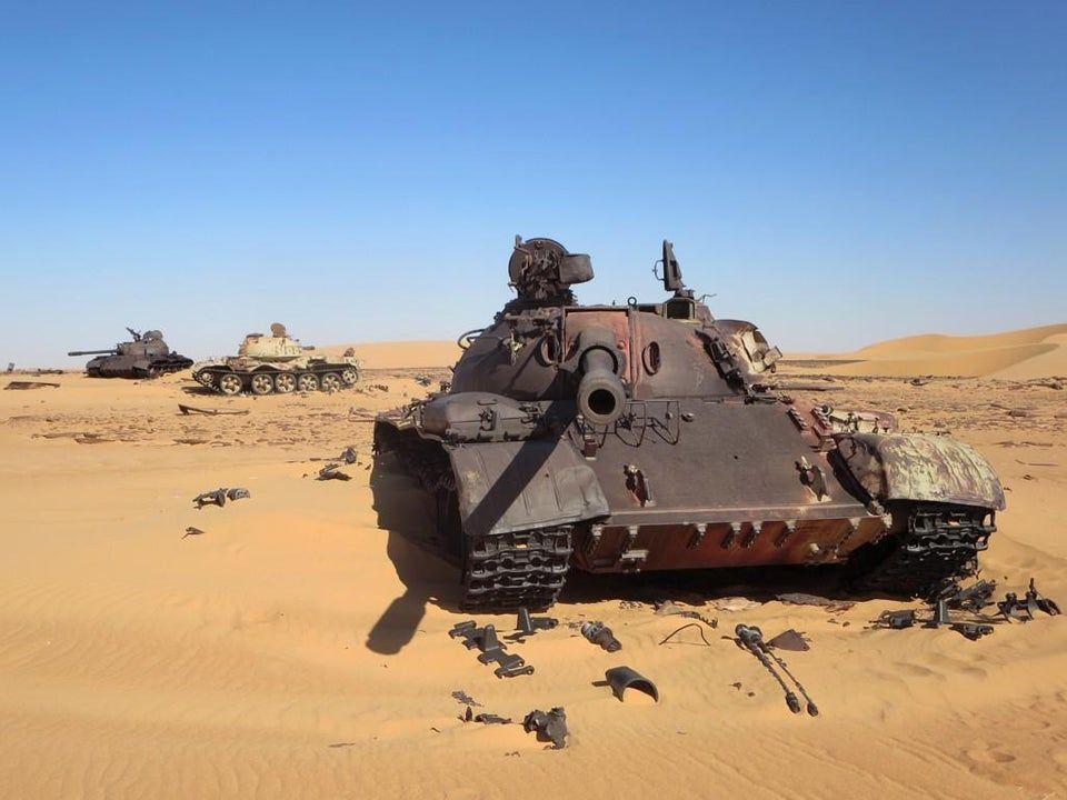 Soviet era T 55 tanks in the Libyan Sahara