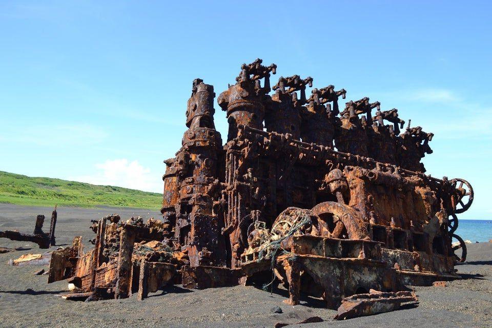 engine rusts on the beach of Iwo Jima